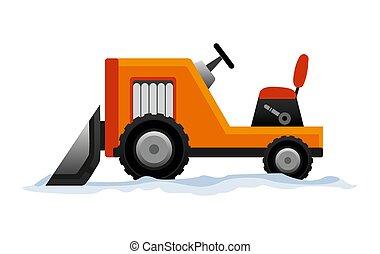 transporte, equipo, snowblower, camino, blanco, limpia, excavador, quitanieves, works., snow., fondo., aislado, pesado, excavadora