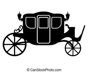transporte, esboço, pessoas, real, ilustração, carruagem, vetorial, pretas, silueta