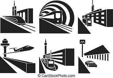 transporte, estaciones, vector, iconos, conjunto