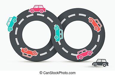 transporte, estrada, carros, vetorial, logotipo, infinito