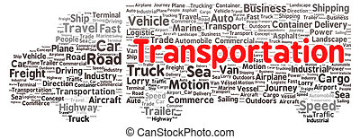 transporte, forma, palabra, nube