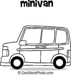 transporte, furgão, cobrança, mini