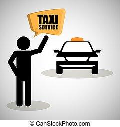 transporte, icon., isolado, táxi, ilustração, design.