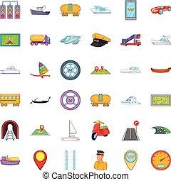 transporte, iconos, conjunto, caricatura, estilo
