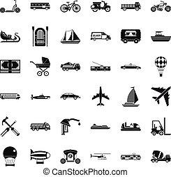 transporte, iconos, conjunto, simple, estilo
