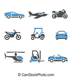 transporte, iconos, -, un, conjunto, de, cuatro