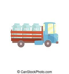 transporte, ilustração, entrega leite, vetorial, retro, agricultor, caminhão, caricatura