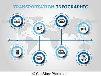 transporte, infographic, desenho, ícones