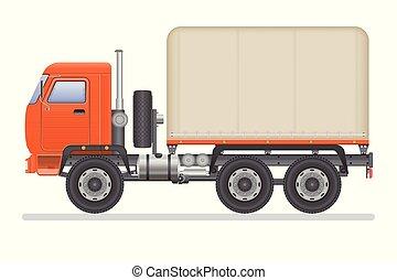 transporte, isolado, ilustração, experiência., vetorial, caminhão, vehicle., branca