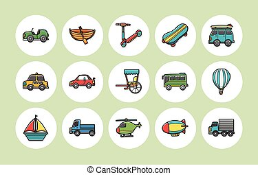 transporte, jogo, ícones