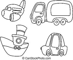 transporte, jogo, esboçado, caricatura