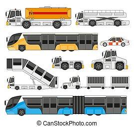 transporte, lado, reboques, cobrança, carga, vista, caminhão, barramentos