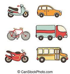 transporte, mano, dibujo, iconos