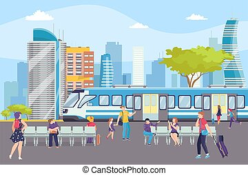 transporte, metro, metro, illustration., estación, urbano, ...