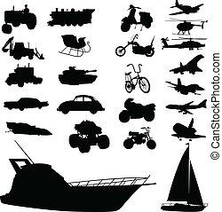 transporte, mezcla, vector, siluetas