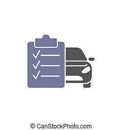 transporte, modelo, car, lista, manutenção, automóvel, logotipo, icon.