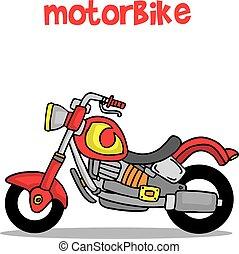 transporte, motocicleta, cobrança, caricatura