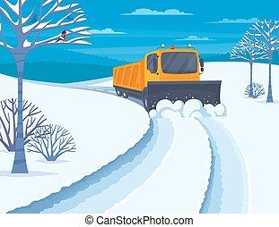 transporte, neve, ilustração