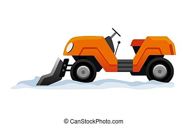 transporte, nieve, equipo, camino, tractor, blanco, snowblower, mini, works., arado, snow., fondo., aislado, limpia