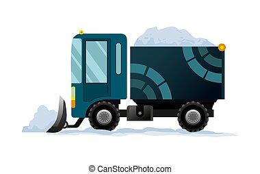 transporte, nieve, equipo, snowblower, camino, blanco, camión, quitanieves, works., arado, snow., fondo., aislado, pesado, limpia