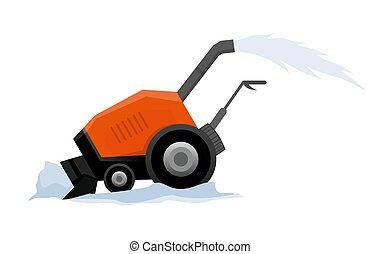 transporte, nieve, manual, equipo, camino, blanco, tractor, snowblower, works., arado, snow., fondo., aislado, limpia