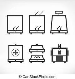 transporte público, ícones, jogo