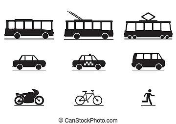 transporte, público, ícones