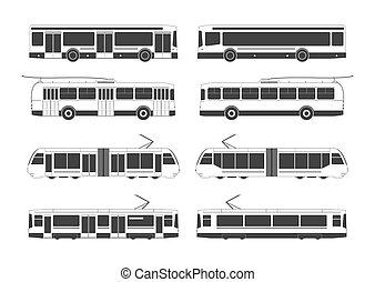 transporte, público, colección