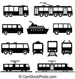 transporte público, icono, conjunto
