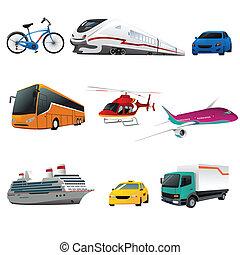 transporte, público, iconos