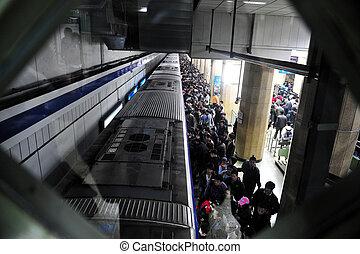 transporte público, metro, -, china, beijing