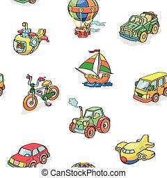 transporte, padrão, caricatura, cobrança, seamless