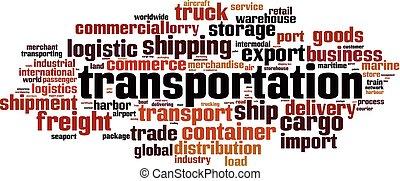 transporte, palabra, nube