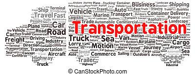 transporte, palabra, nube, forma