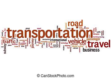 transporte, palavra, nuvem