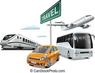 transporte, para, viaje