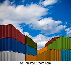 transporte, pila, contenedores
