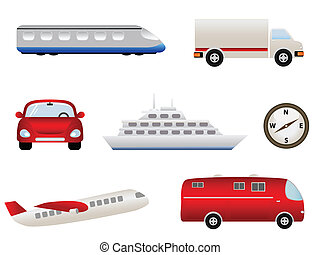 transporte, relatado, ícones
