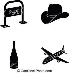 transporte, ropa, y, o, tela, icono, en, negro, style.alcohol, transporte, iconos, en, conjunto, collection.