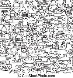 transporte, seamless, patrón, en, negro y blanco