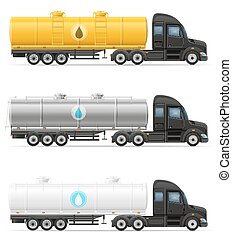 transporte, semi, líquido, ilustração, entrega, vetorial, caminhão, tanque, reboque