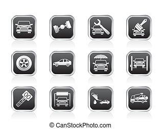 transporte, serviço, ícones