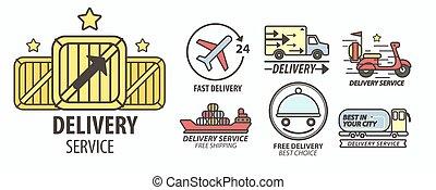 transporte, serviço, alimento, isolado, entrega, emblemas, poste, pacotes