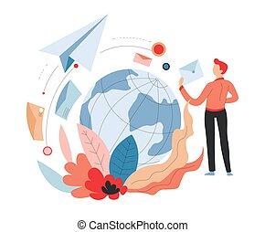 transporte, serviço, ar, entrega, internacional, correio, poste, ou