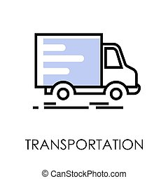 transporte, serviço, pacotes, isolado, caminhão entrega, poste, ícone