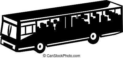 transporte, -, servicio público, autobús