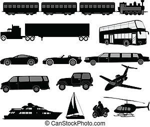 transporte, silhuetas