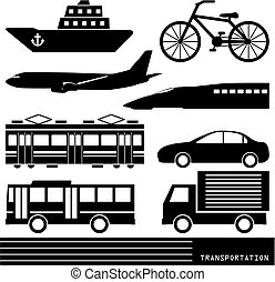 transporte, silueta
