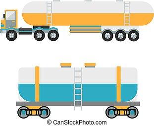 transporte, tanque, logistic, car, barril metal, vetorial, petróleo, apartamento, petroleiro, illustration., óleo