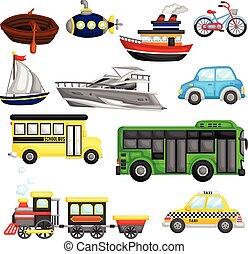 transporte, vector, conjunto